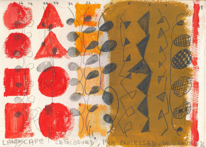 Landscape Catalogued. Pre-Processed, De-Stratified - Drawing ©1978 by Gerald Shepherd -                                                                    Outsider Art, Abstract Art, Landscape, Patterns, mixed media, abstract, landscape, patterns