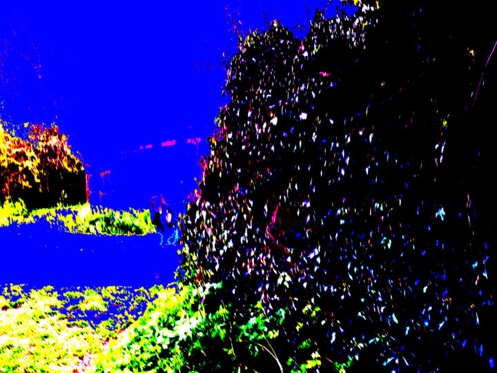 Figure By A Hedge - Digital Arts, ©2014 by Gerald Shepherd -                                                                                                                                                                                                                                                                                                                                                                                                          Expressionism, expressionism-591, Abstract Art, Landscape, invisible figure, hedge, colours, colour blocks