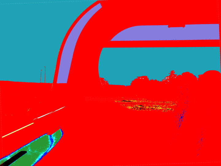 Landscape From A Bus - © 2014 red and blue, bus, window, countryside Online Artworks