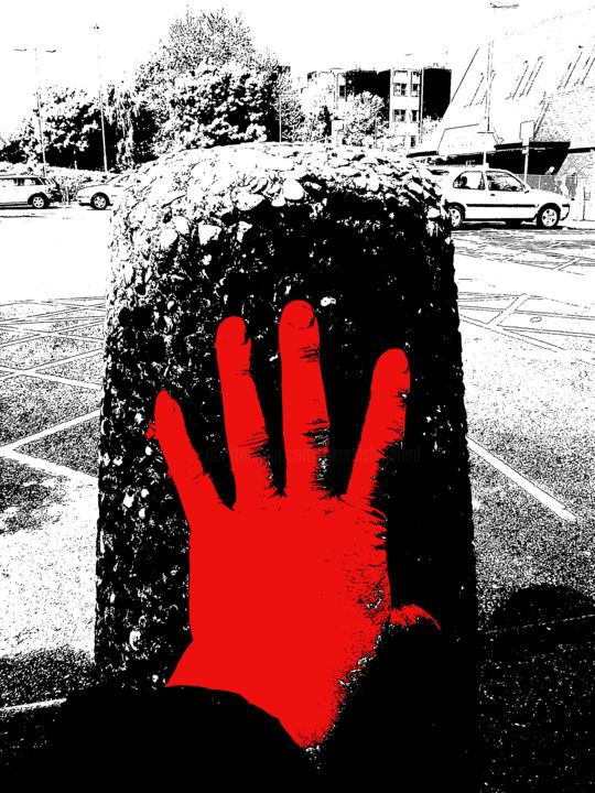 Caught Red Handed - Digital Arts, ©2014 by Gerald Shepherd -                                                                                                                                                                                                                                                                                              Abstract Art, Body, Landscape, red, hand, stone