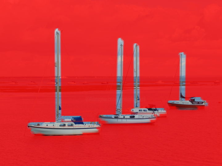 Red Sea Boats - Digital Arts, ©2019 by Gerald Shepherd -                                                                                                                                                                                                                                                                                              Sailboat, Seascape, red sea, sea, yachts, red