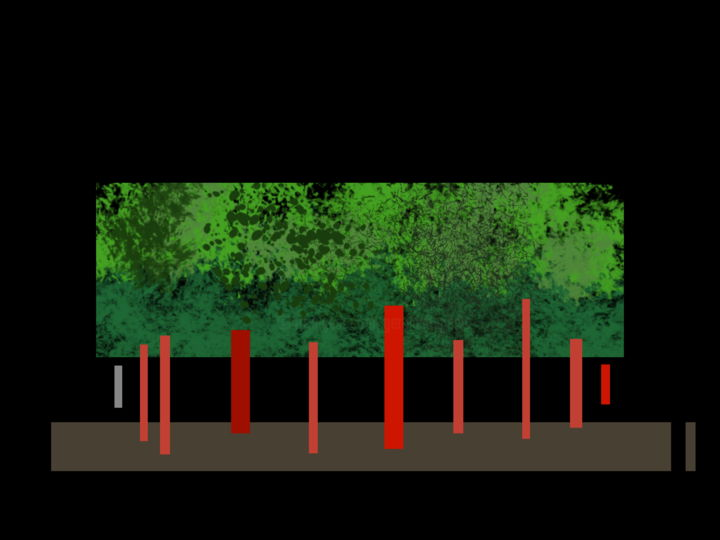The Wood That Doubles As A Music Score - Digital Arts, ©2019 by Gerald Shepherd -                                                                                                                                                                                                                                                                                                                                                              Outsider Art, outsider-art-1044, Abstract Art, Landscape, music score, abstracted landscape, shape sequence