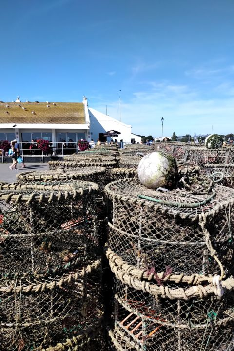 The Found Sculpture That Got Lost Again - © 2019 lobster pots, quayside, Mudeford Quay, found sculpture, coast Online Artworks