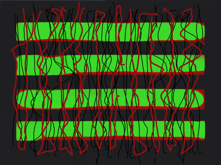 Overheard Conversations - Digital Arts, ©2016 by Gerald Shepherd -                                                                                                                                                                                                                                                                                                                                                              Abstract, abstract-570, Abstract Art, green and red, lines, blocks, abstraction