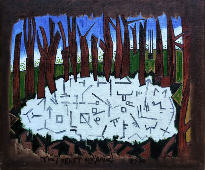 The Forest Clearing - Painting, ©2020 by Gerald Shepherd -                                                                                                                                                                                                                                                                                                                                                                                                                                                      Outsider Art, outsider-art-1044, Abstract Art, Landscape, Tree, trees, clearing, symbols, nature