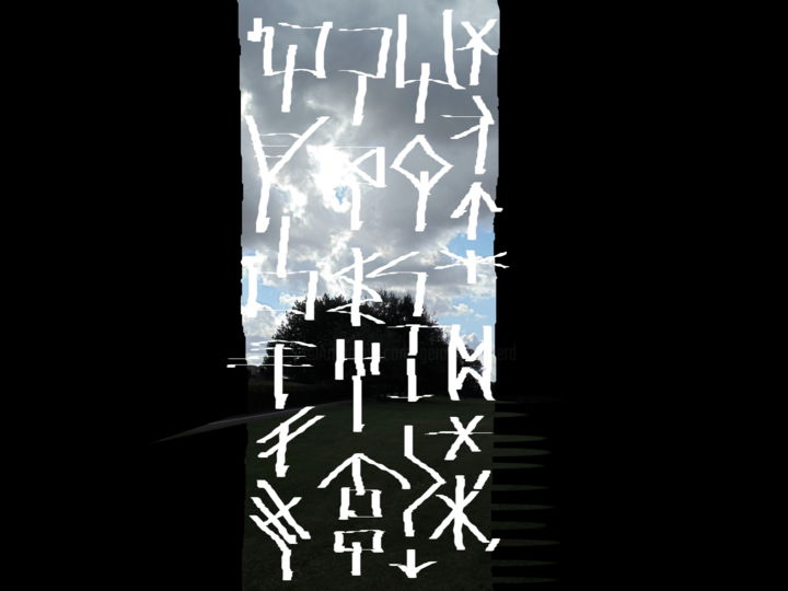 The Sky Talks - © 2020 symbols, vertical sequence, improvisation computer art, digital improvisation Online Artworks