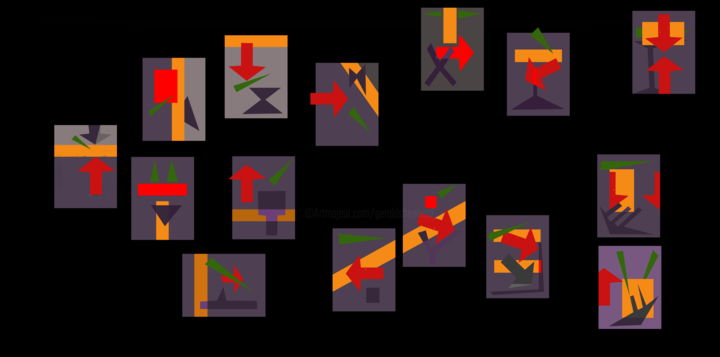 Red Arrow Permutations - Digital Arts, ©2020 by Gerald Shepherd -                                                                                                                                                                                                                                                                                                                                                                                                                                                                                                  Outsider Art, outsider-art-1044, Abstract Art, computer art, digital painting, sequences, sequence art, permutations, changes, theme and development