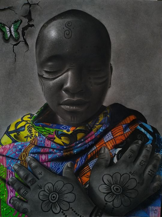 """Drawing titled """"Sleeping Beauty"""" by Gerald Udoinyang, Original Art, Charcoal"""