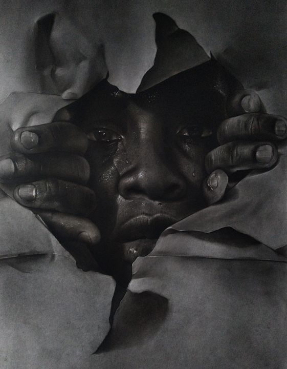 """Drawing titled """"Realities of life"""" by Gerald Udoinyang, Original Art, Charcoal"""