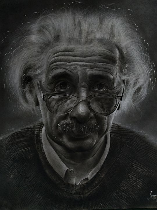 """Drawing titled """"Portrait of Albert…"""" by Gerald Udoinyang, Original Art, Charcoal"""