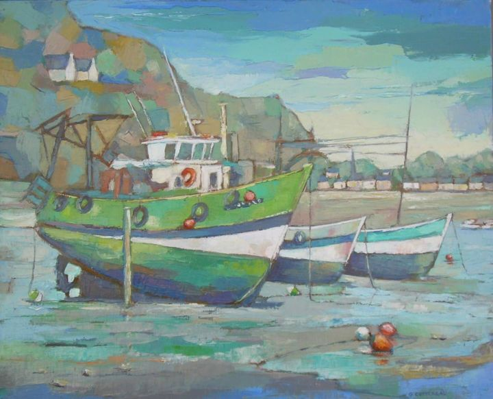 Coquilliers - Painting,  50x61 cm ©2012 by Gérard Cottereau -                            Boat, bateau marine erquy, mer