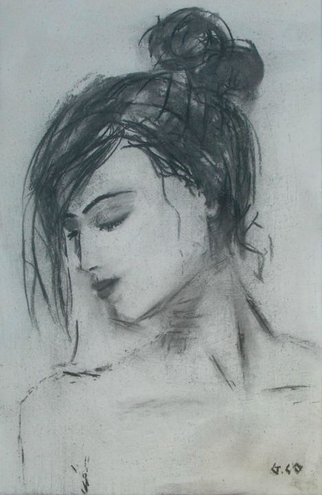 Visage - Drawing,  19.7x12.6 in, ©2013 by Gérard Cottereau -                                                                                                                                                                                                                                                                                                                                                              Figurative, figurative-594, Portraits, portrait, visage, femme, craie