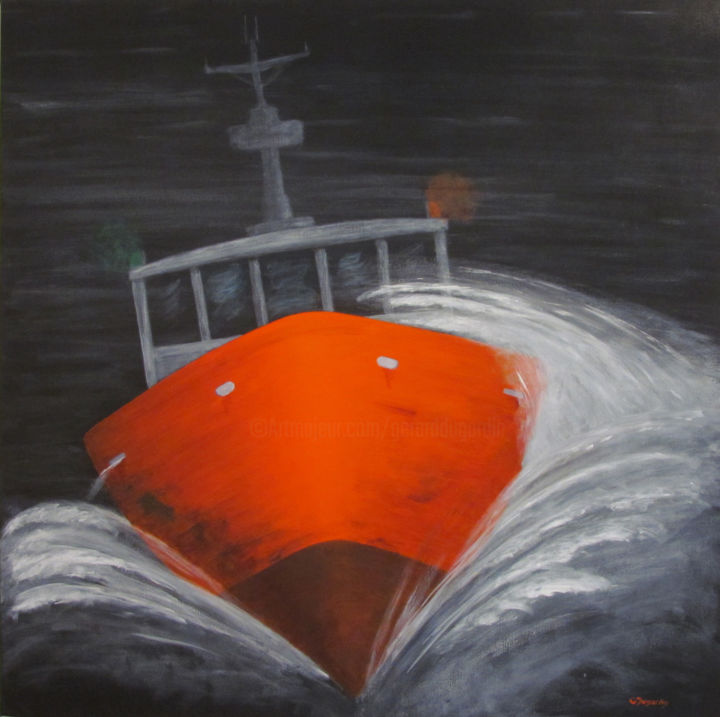 Salle temps - Painting,  80x80x2.5 cm ©2012 by GERARD DUGARDIN -                                                            Realism, Canvas, Boat, bateaux