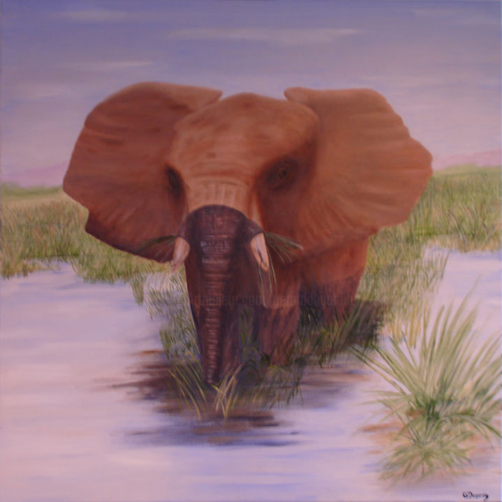 Eléphant au bain - Painting,  100x100x2.5 cm ©2008 by GERARD DUGARDIN -                                                        Realism, Canvas, Animals