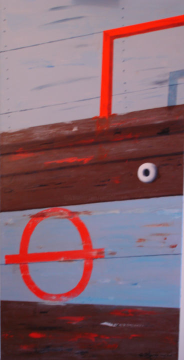 zoom barque bois- - Painting,  100x50x2.5 cm ©2007 by GERARD DUGARDIN -                                                        Realism, Canvas, Boat