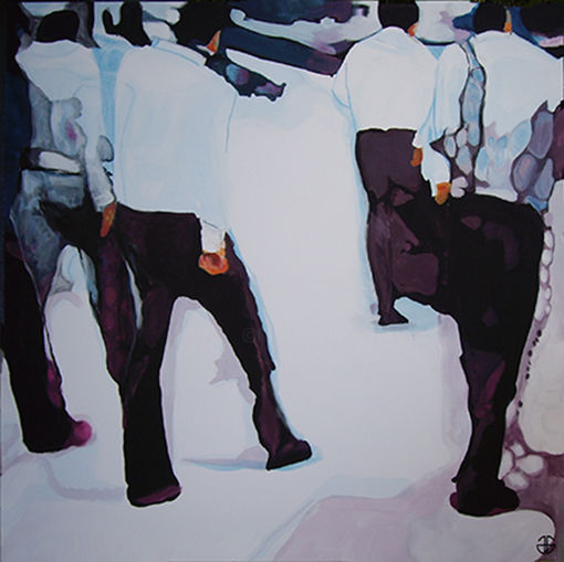 white shirts - Painting,  55.1x55.1x1.2 in, ©2020 by Gerard Jouannet -                                                                                                                                                                                                                                              ville, city, pietons, people, trottoir
