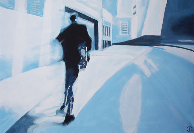 rue 5 - Painting,  47.2x70.9 in, ©2020 by Gerard Jouannet -                                                                                                                                                                                                                                                                                                                                                              Figurative, figurative-594, Cities, ville, city, people, passant