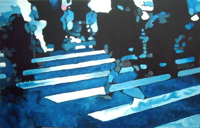 city ghost 4 - Peinture,  32,7x51,2x1,2 in, ©2013 par Gerard Jouannet -                                                                                                                                                                                                                                                                  Impressionism, impressionism-603, people in the street, shadows, ghost city