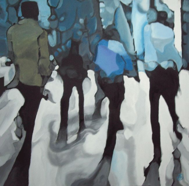 city ghost 5 - Peinture,  47,2x47,2 in, ©2013 par Gerard Jouannet -                                                                                                                                                      people walking in the city, shadows, city ghost