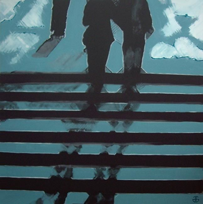 up the stairs - Peinture,  55,1x55,1 in, ©2013 par Gerard Jouannet -                                                              city shadows up the stairs