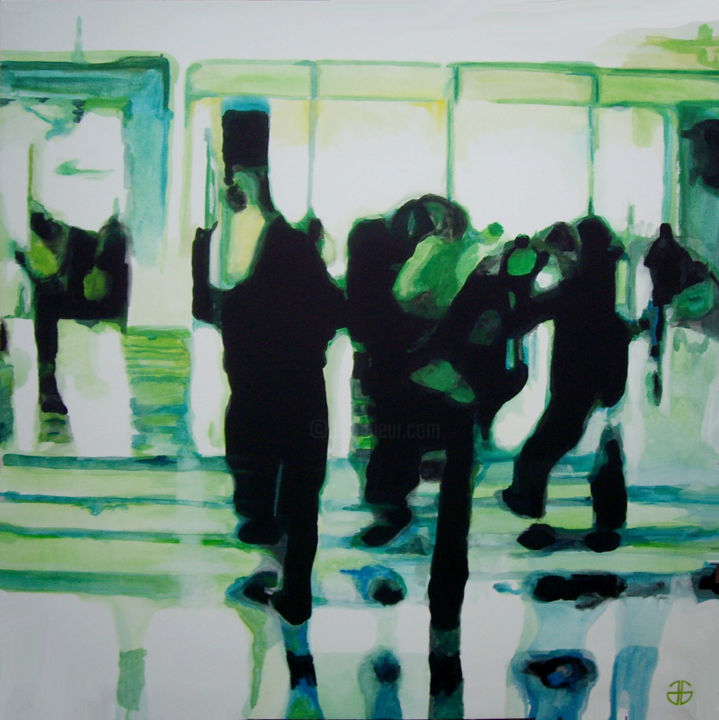 urban 11 - Peinture,  51,2x51,2 in, ©2014 par Gerard Jouannet -                                                              people in the street