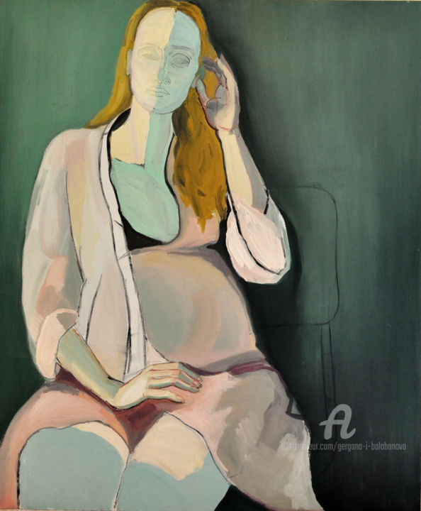 Portrait of Veronica - Painting,  120x100x2 cm ©2018 by Gergana Balabanova -                                                                        Contemporary painting, Expressionism, Canvas, Portraits, portrait, woman, pregnant, tender, pink, blonde, green