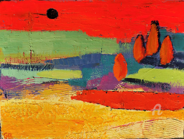 """Painting titled """"Sweltering day"""" by Gergana Balabanova, Original Art, Oil Mounted on Stretcher frame"""