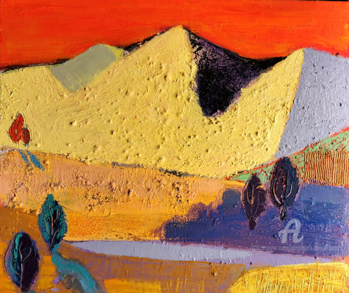 """Painting titled """"In the desert noon I"""" by Gergana Balabanova, Original Art, Oil Mounted on Stretcher frame"""