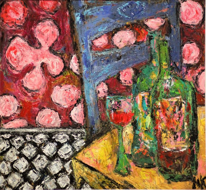"""Painting titled """"VERRE A LA CHAISE B…"""" by Germain Henneka, Original Art, Acrylic"""