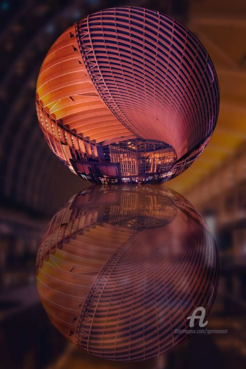 HallBall - © 2019 Hallway, Globe, LensBall, LensGlobe, Sphere, Symmetry, Geometry, Architecture, Hall, Cityscape, Batiment, Abstract, Modern Art Œuvres-d'art en ligne