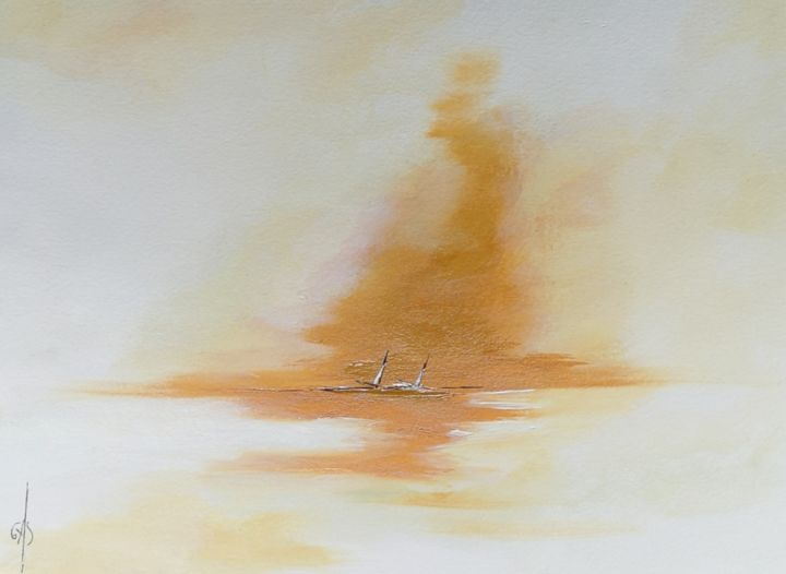 Ocre - Painting,  9.1x12.2 in, ©2019 by Gas -