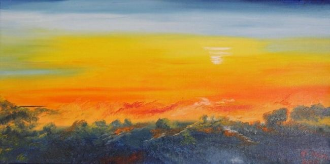 COURROUX - Painting,  11.8x23.6 in, ©2007 by Ghislaine Driutti -