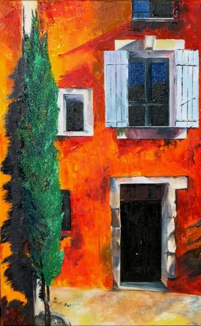 CYPRES AUTRE - Painting,  31.5x15.8 in, ©2007 by Ghislaine Driutti -