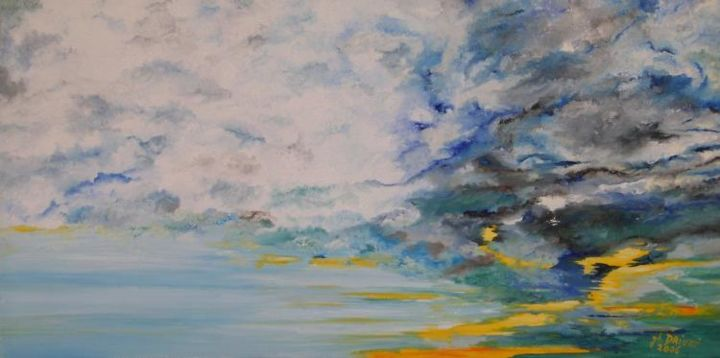 TUMULTE - Painting,  11.8x23.6 in, ©2006 by Ghislaine Driutti -