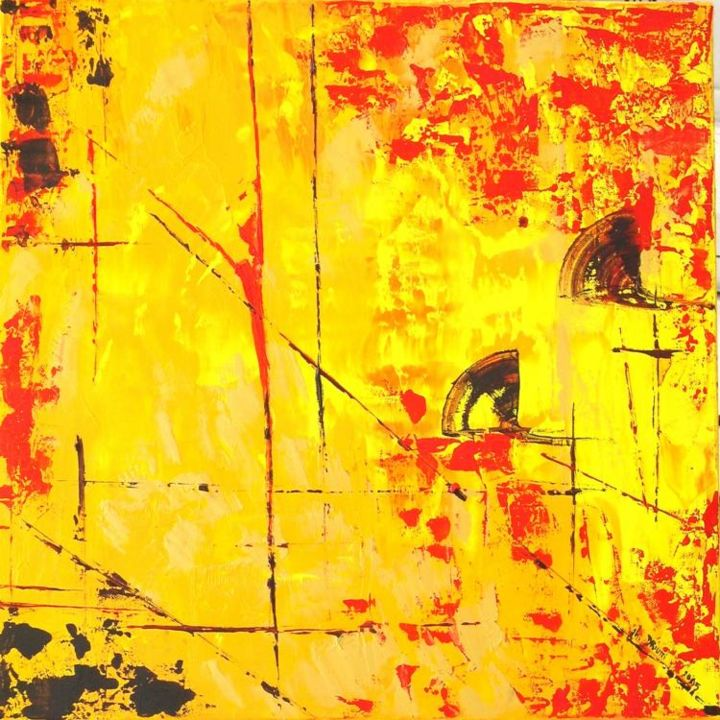 EVENTAIL - Painting,  19.7x19.7 in, ©2005 by Ghislaine Driutti -