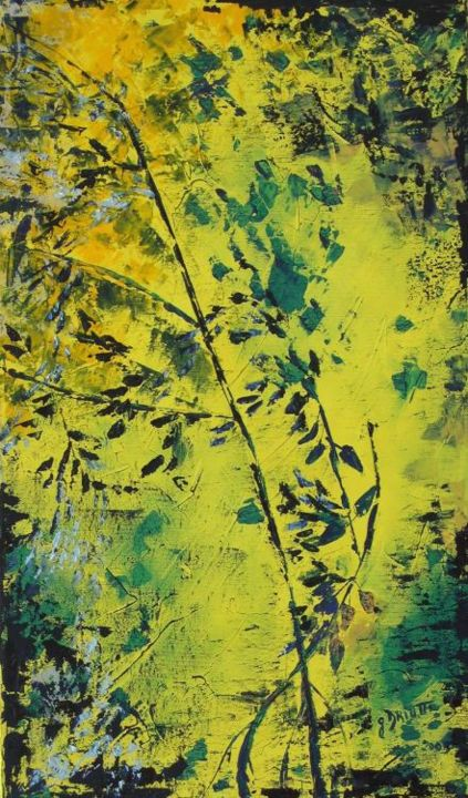 FLORALIES - Painting,  21.7x13 in, ©2005 by Ghislaine Driutti -