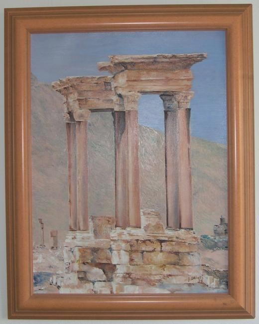 COLONNES - Painting,  25.6x18.1 in, ©1995 by Ghislaine Driutti -
