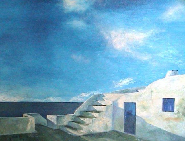 TERRASSES - Painting,  18.1x25.6 in, ©1996 by Ghislaine Driutti -