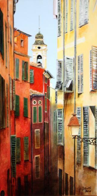 VIEUX NICE - Painting,  23.6x11.8 in, ©2010 by Ghislaine Driutti -