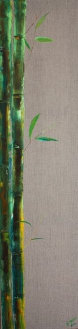 FEUILLES ET BAMBOU - Painting,  47.2x11.8 in, ©2010 by Ghislaine Driutti -