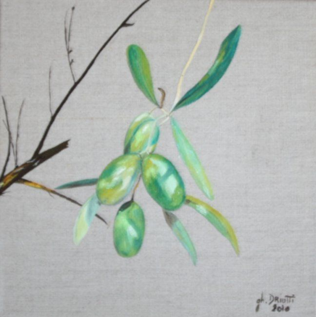 OLIVES - Painting,  11.8x11.8 in, ©2010 by Ghislaine Driutti -