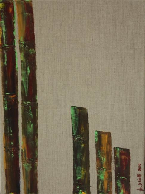 5 BAMBOUS - Painting,  15.8x11.8 in, ©2010 by Ghislaine Driutti -