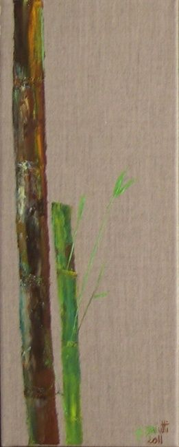 BAMBOUS 1 - Painting,  19.7x7.9 in, ©2012 by Ghislaine Driutti -