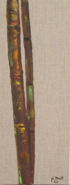 BAMBOUS 4 - Painting,  19.7x7.9 in, ©2012 by Ghislaine Driutti -