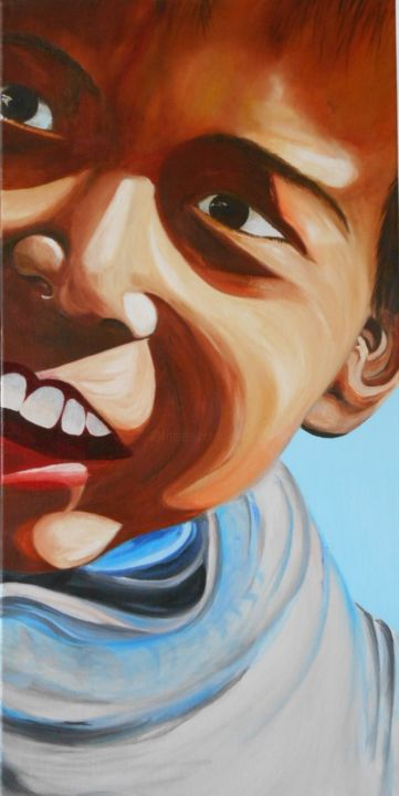 Sourire - Painting,  31.5x15.8 in, ©2014 by Ghislaine Driutti -                                                              Kids