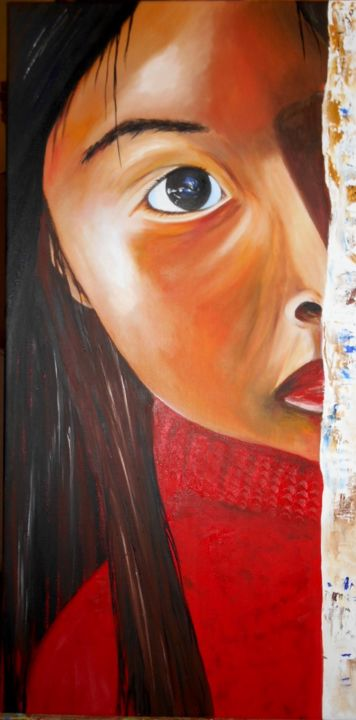 La guetteuse - Painting,  31.5x15.8 in, ©2014 by Ghislaine Driutti -                                                              Children