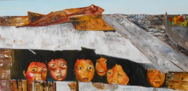 Cache cache - Painting,  60x30 cm ©2014 by Ghislaine Driutti -                                        Canvas, Children