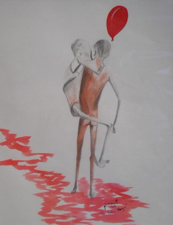 Le ballon rouge - Drawing,  55x43 cm ©2012 by Ghislaine Driutti -                                        Paper, Children