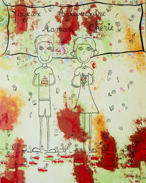 L'anniversaire de Maman - Painting,  100x80 cm ©2014 by Ghislaine Driutti -                                        Canvas, Children