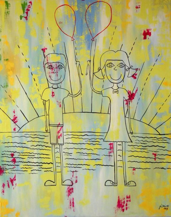 Les grandes vacances - Painting,  100x80 cm ©2014 by Ghislaine Driutti -                                        Canvas, Children